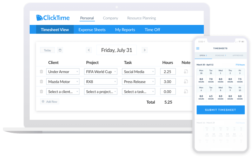 desktop and mobile timecard