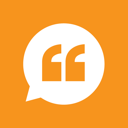 orange left quote icon