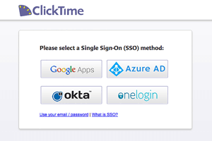 online timesheets SSO method ClickTime